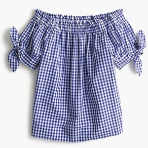 J. Crew Gingham Blue Off-The-Shoulder Tie Top 0